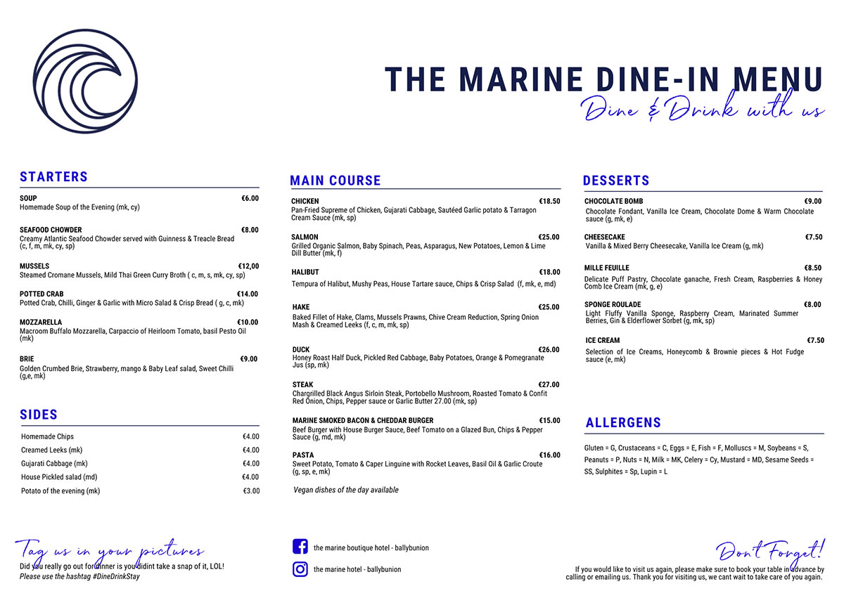 Dial Dine Menu Lunch The Marine